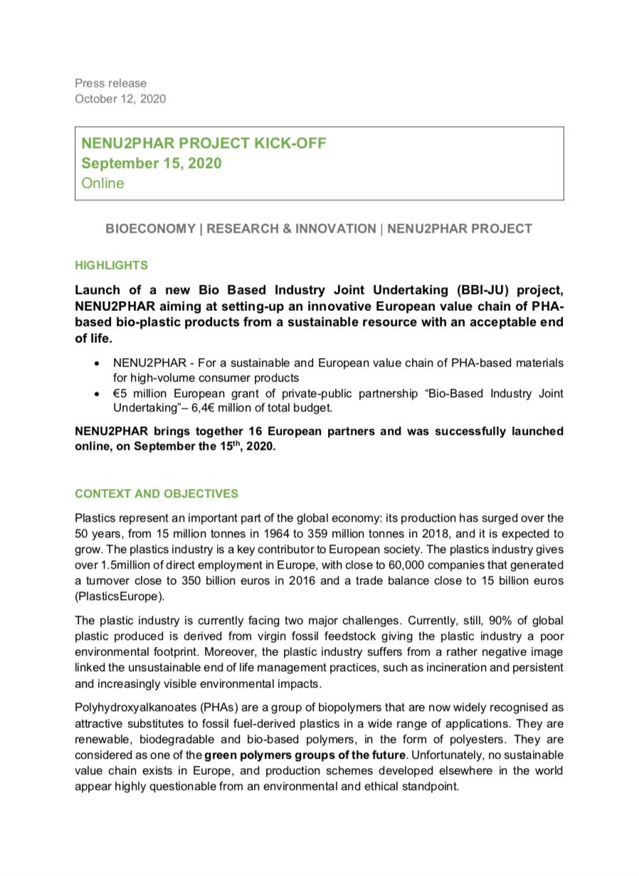 press release nenu2phar european project